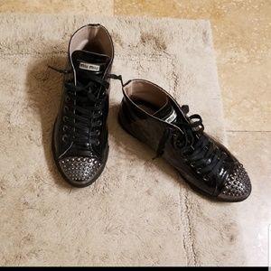 Miu Miu prada studded high top sneakers size 38